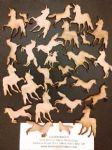 "Unicorn wood pieces   - 2 designs  1"" - 2"" big"